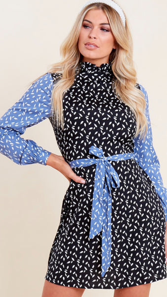 Wednesday Girl Contrast Sleeve Mini Dress
