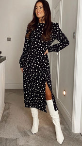 Cass Long Sleeves Split Leg Midi Dress Black Star Print