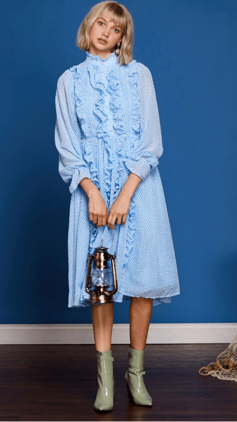 Sister Jane Fairwater Blue Gingham Ruffle Dress