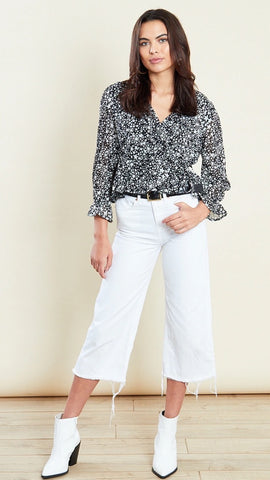 Riley Star Print Frill Hem Wrap Top