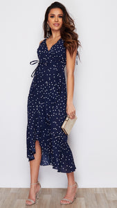 Celia Tie Strap Frill Midi Dress Navy Polka