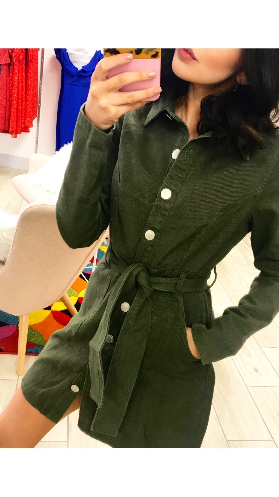 Glamorous Khaki Shirt Dress /Jacket