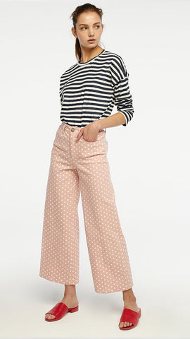 Pink Polka Dot Wide Leg Crop Jeans