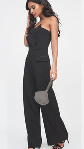 Lavish Alice Black Strapless Wide Leg Jumpsuit