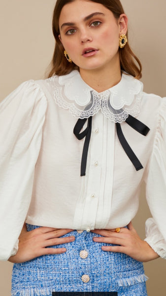 Sister Jane Grand Stand Bow Shirt - Ivory