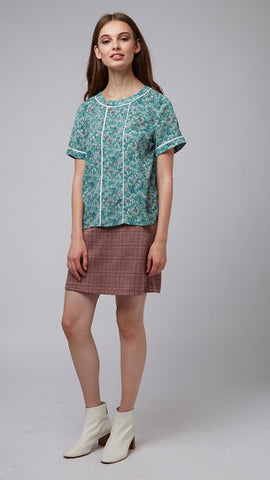 Louche Soline Green Floral Top