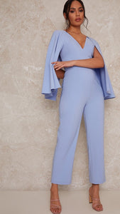 Mabel Baby Blue Caped Jumpsuit