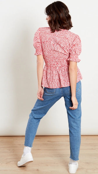 Rosie Peplum Shirred Sleeve Tea Blouse