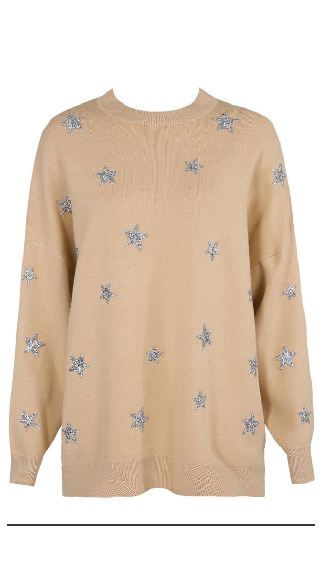 Embellished Beige Star Fine Knit Jumper