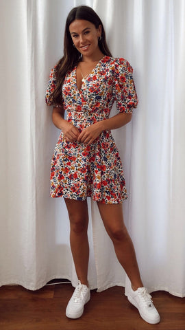 Elise Puff Sleeves Gold Buckle Red Print Skater Dress