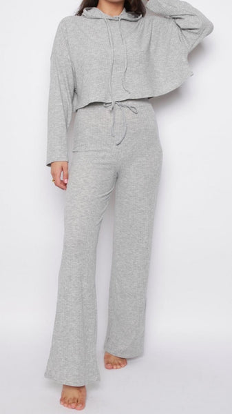 Hoodie & Wide Leg Trousers Ribbed Co-Ord Lounge Set - Grey
