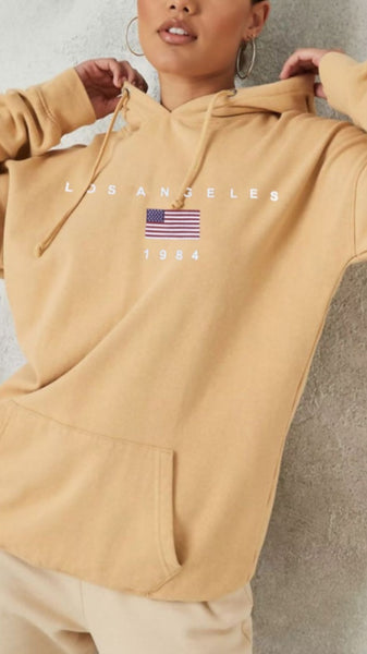 Tori Oversized Sand Fleece Lined Hoodie