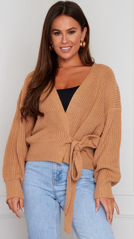 Phoebe Wrap Over Cardigan - Camel