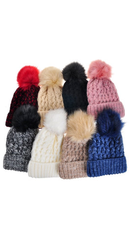 Fleece Lined Pom Pom Beanie Hat (All Colours)
