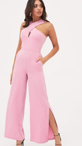 Lavish Alice Pink Wide Leg Jumpsuit