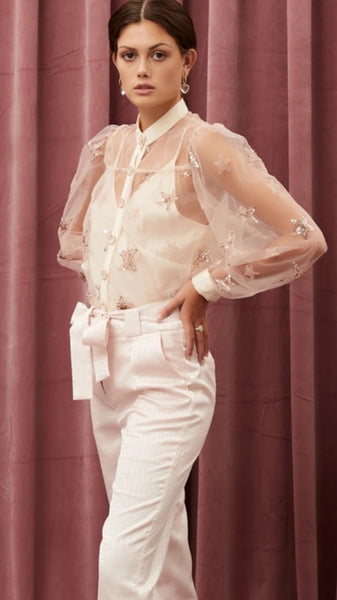 Sister Jane Star Burst  Blush Pink Sequin Blouse