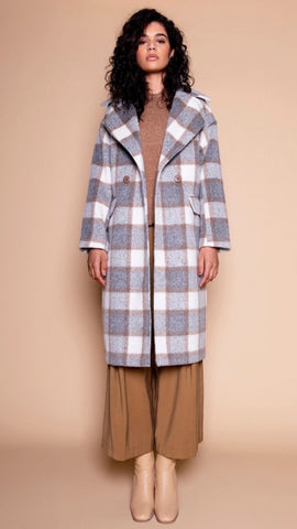 Glamorous Grey Check Wool Coat