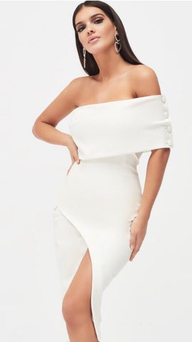 Lavish Alice White Off Shoulder Midi Dress