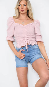 Gathered Front Puff Sleeve Ruched Top - Pink (Pre-Order)