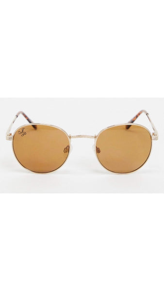 Jeepers Peeper Gold Round Sunglasses