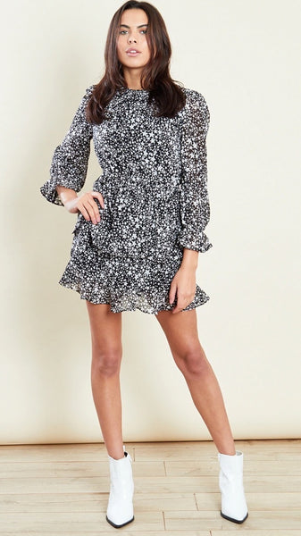 Isla Star Print Long Sleeves Tiered Ruffle Mini Skater Dress