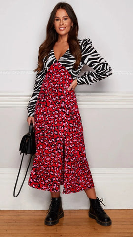 Elouise V Neck Midi Dress Red Animal