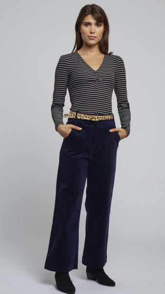 Louche Tim Cord Navy Wide Leg Trousers