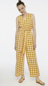 Compania Fantastica Yellow Gingham Jumpsuit