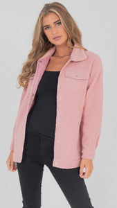 Lexie Faux Shearling Trucker Teddy Jacket Pink