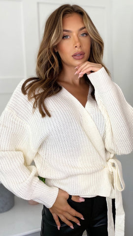 Phoebe Wrap Over Cardigan - Cream