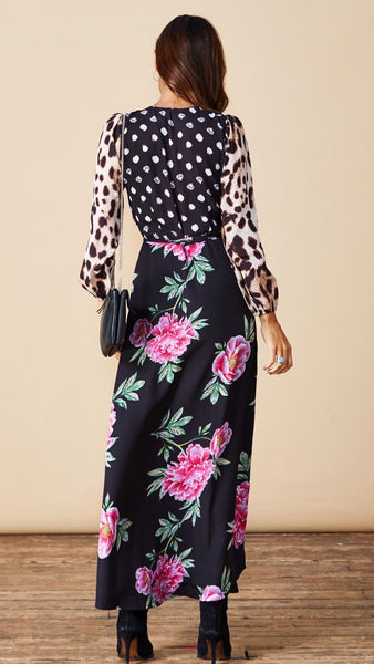 Dancing Leopard Jagger Print Mix Maxi Dress