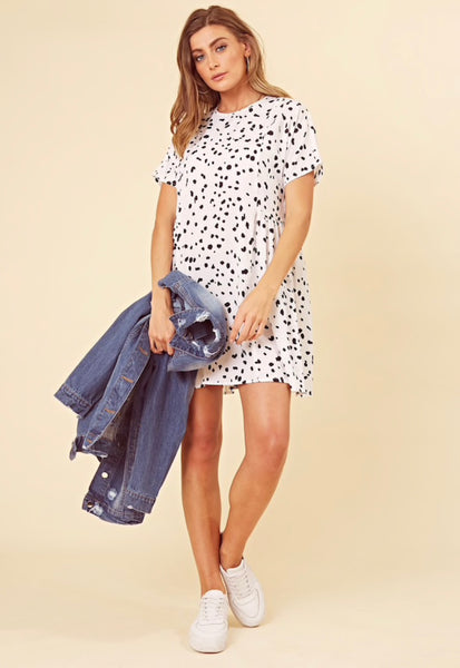 Influence Black and White Splodge Print Side Detail Smock Dress