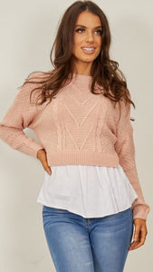 Megan Frill Knitted Shirt Jumper - Pink