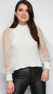 Organza White Mini Polka Dot Sleeves Knitted Jumper