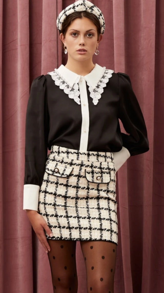 Sister Jane Supper Club Tweed Mini Skirt - Black and Ivory