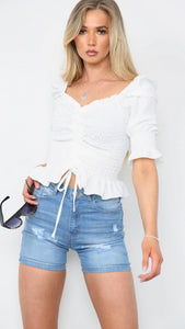 Gathered Front Puff Sleeve Ruched Top - White (Pre-Order)