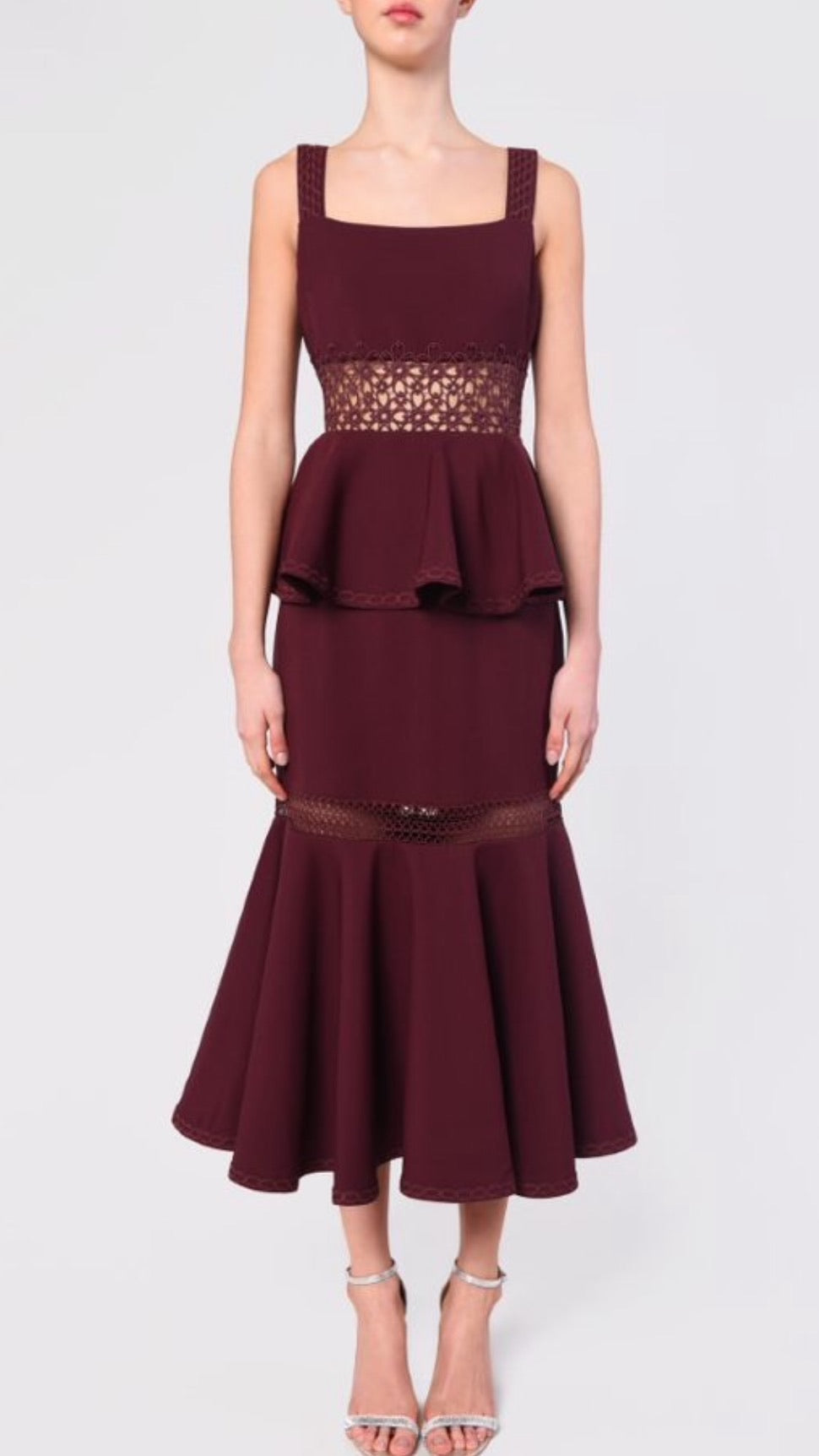 True Decadence Burgundy Midi Dress