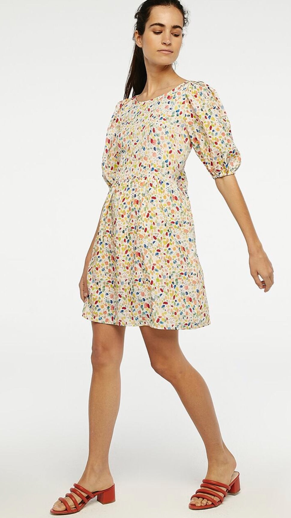 Multicoloured Speckled Smock Style Mini Dress