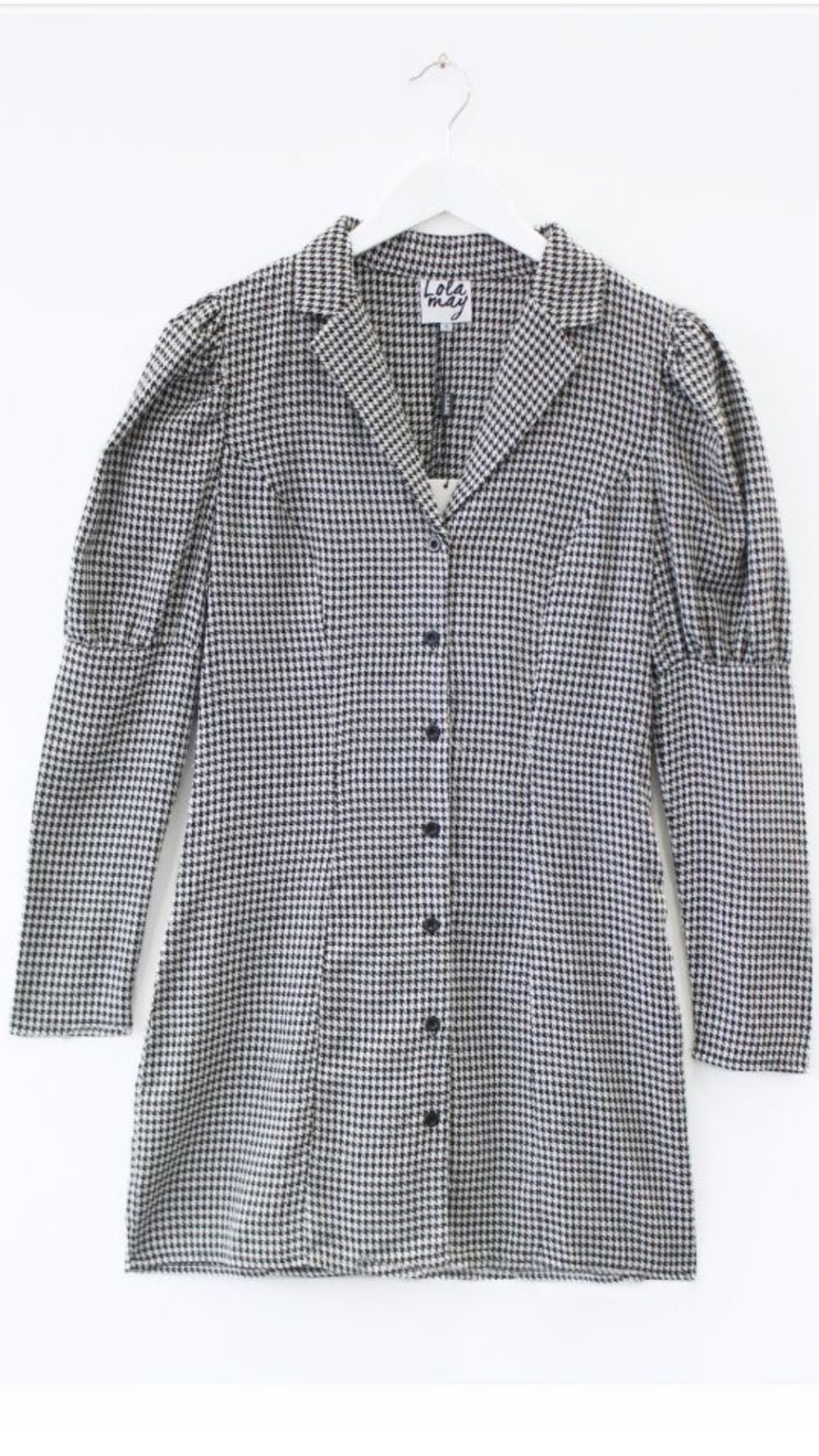 Black Dogtooth Puff Sleeve Blazer Dress