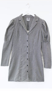 *Pre-Order* Black Dogtooth Puff Sleeve Blazer Dress