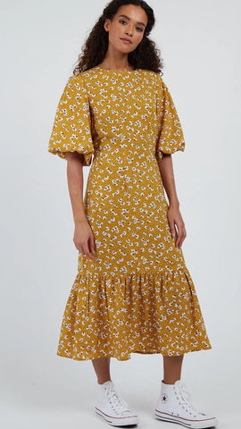 Louche Zeyneb Petal Dot Mustard Midi Dress