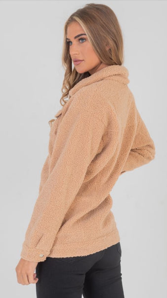 Lexie Faux Shearling Trucker Teddy Jacket Tan