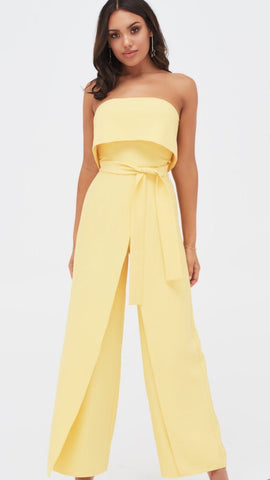 Lavish Alice Yellow Strapless Wide Leg Jumpsuit