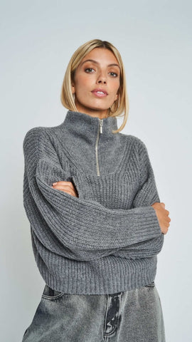 Kara Zip Funnel Neck Jumper