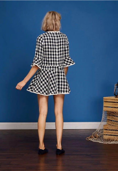 Sister Jane Starboard Peplum Hem Tweed Dress