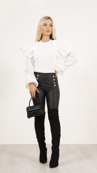 Stacey White Ruffle Trim Jumper