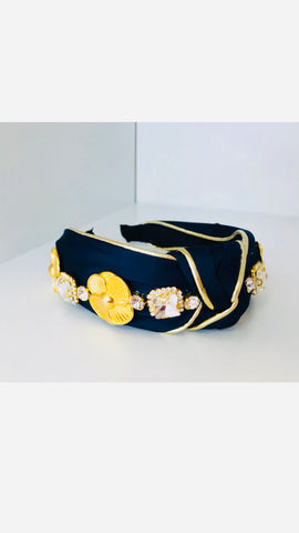 Grace Loves Navy Gold Stones Headband (Limited Edition)