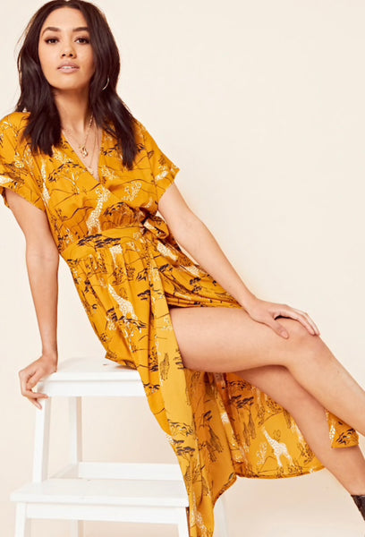 Influence Safari Print Wrap Midi Dress
