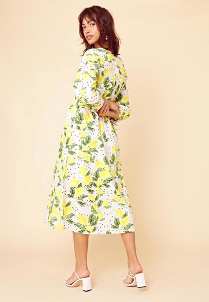 Neon Rose Lolita Lemon Shirring Midi Tea Dress