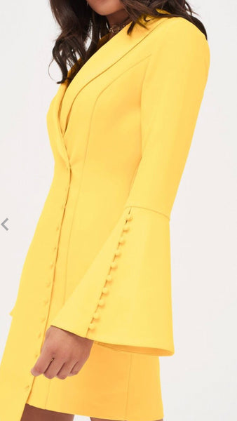 Lavish Alice Yellow Mini Blazer Dress